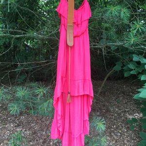 Annabelle strapless boho high low dress